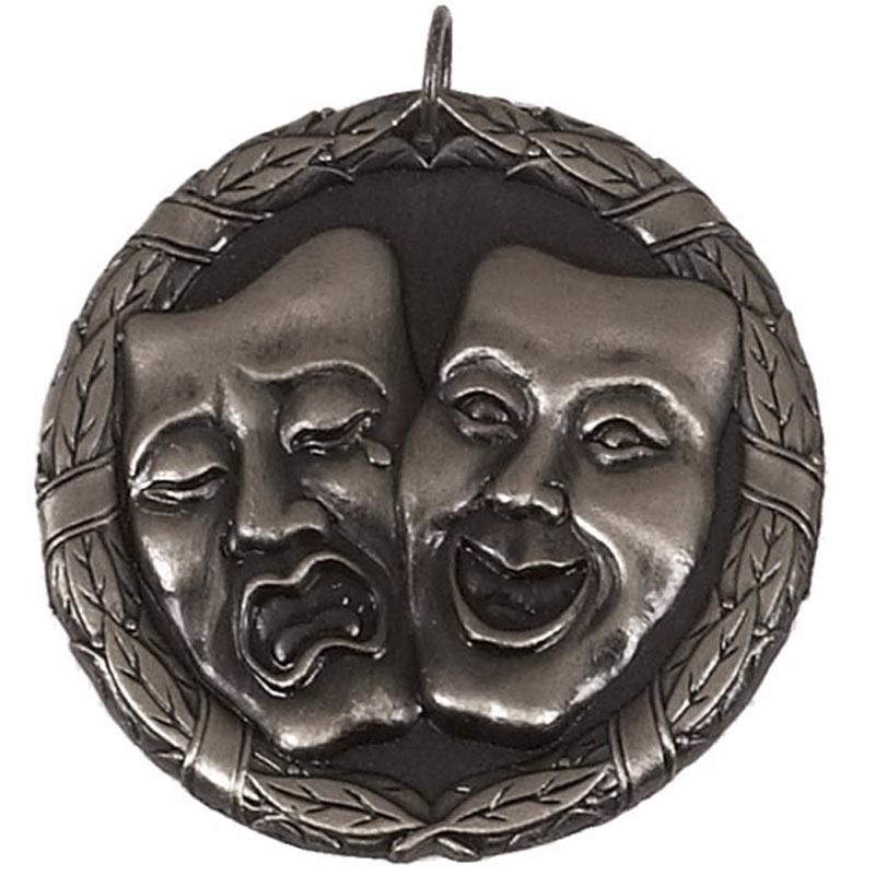 50mm Silver Comedy & Tragedy Drama Laurel Medal