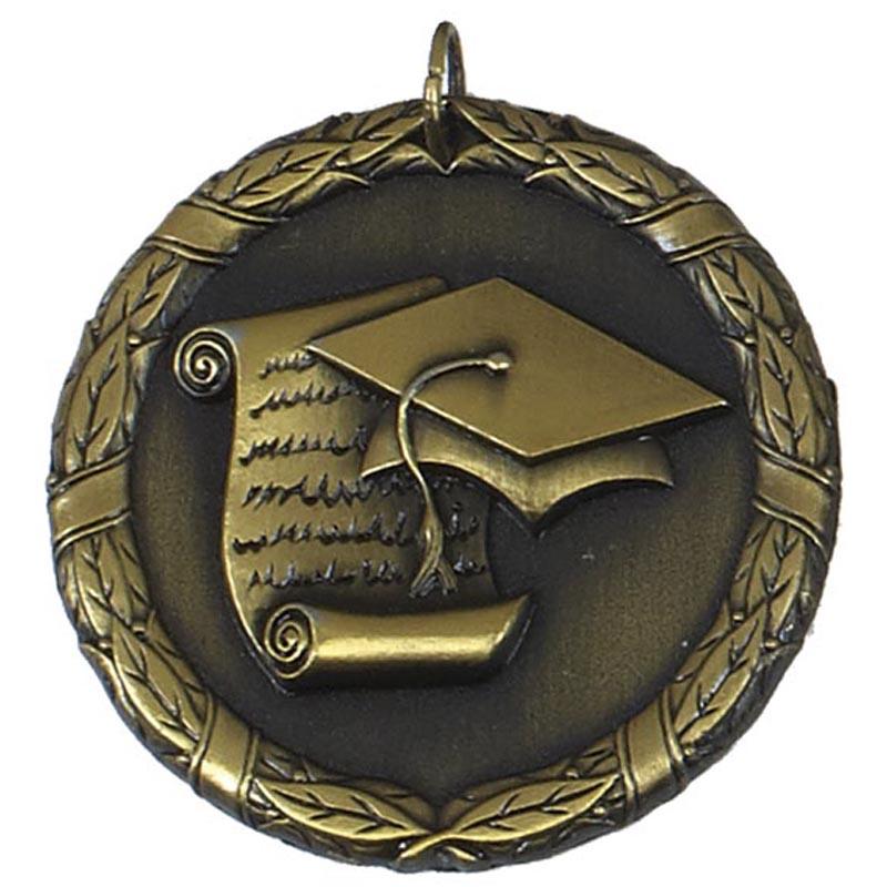 50mm Gold Graduation Cap & Scroll School Laurel Medal