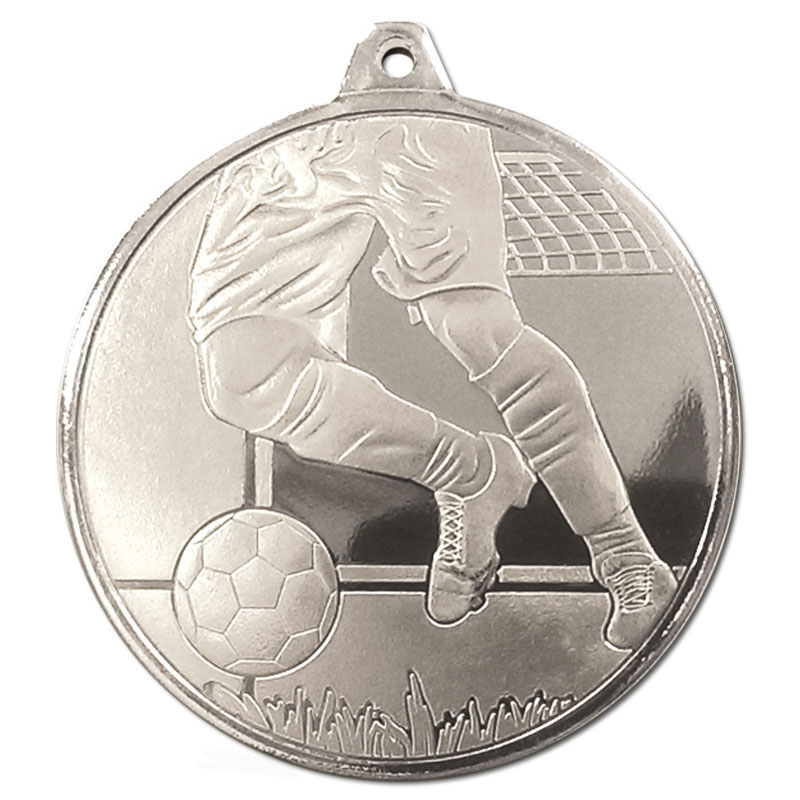 50mm Silver Detailed Legs & Ball Football Glacier Medal