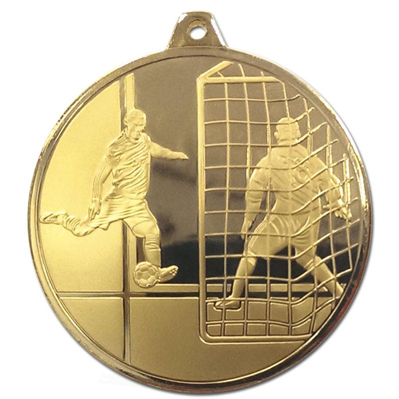 50mm Gold Striker & Goal Football Glacier Medal