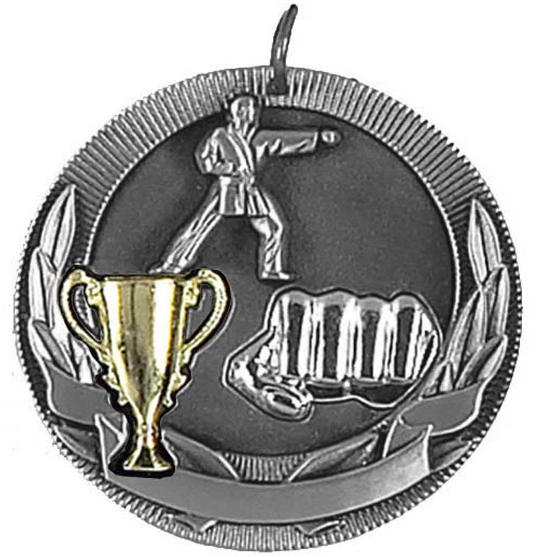 50mm Silver Karate Medal