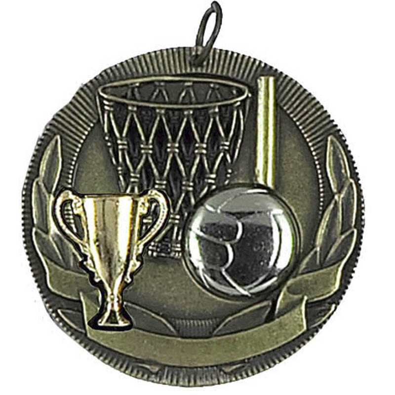 50mm Trophy Ball Net & Trophy Netball Highlight Medal