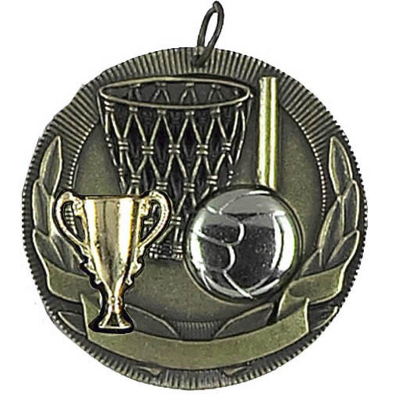 50mm Trophy Ball Net & Trophy Netball Highlight Medal