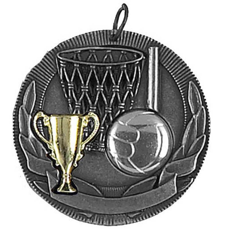 50mm Silver Netball Medal