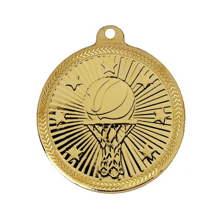 50mm Gold Goal Basketball Victory Star Medal