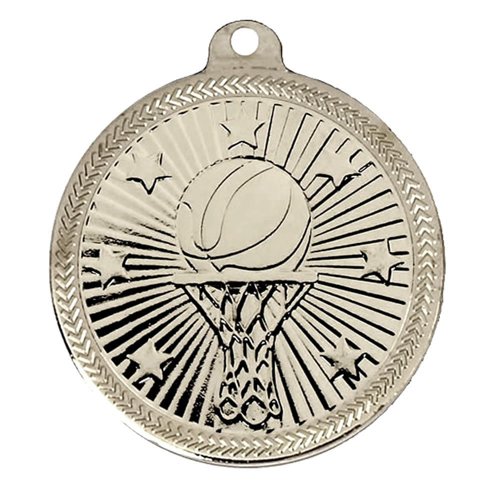 50mm Silver Goal Basketball Victory Star Medal