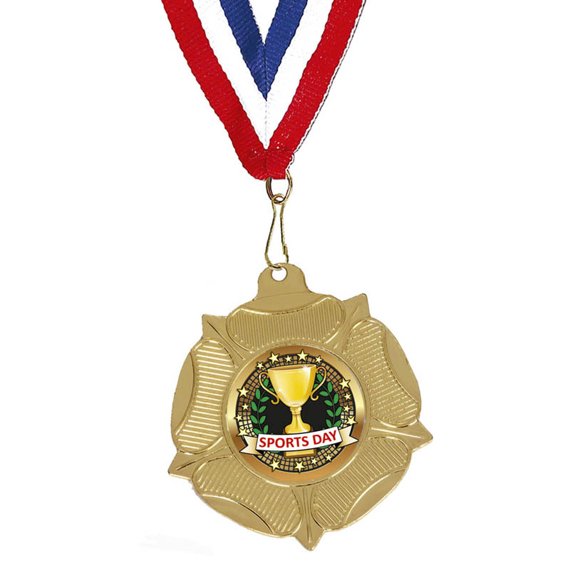 50mm Gold Sports Day School Fanfare Medal