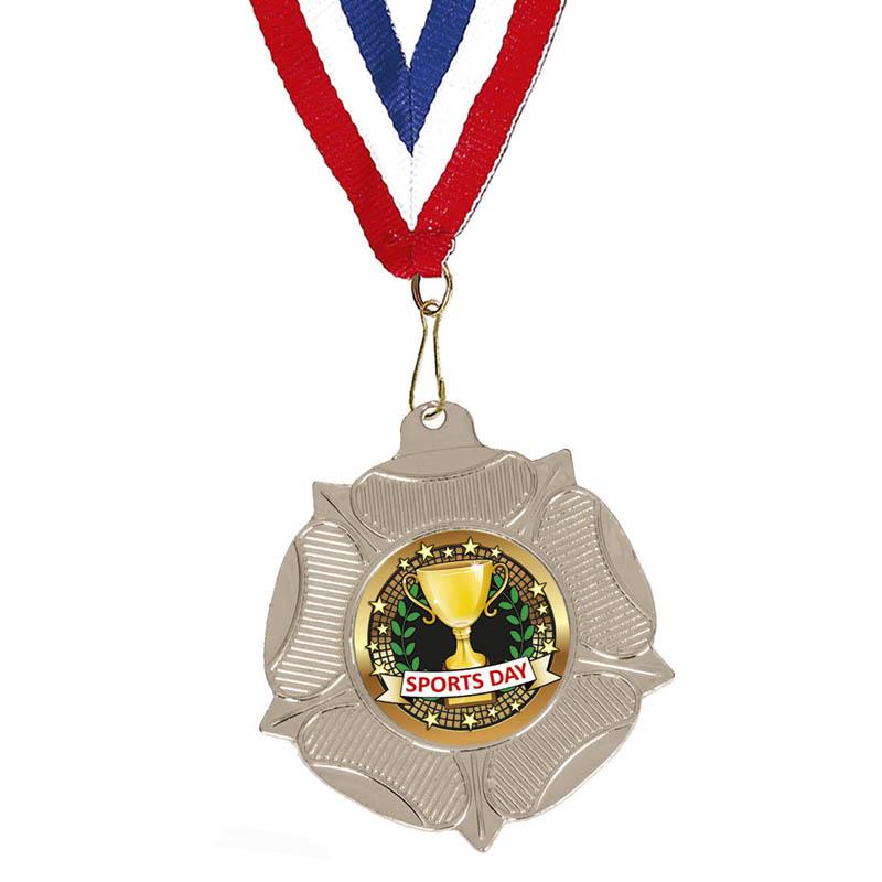 50mm Silver Sports Day School Fanfare Medal