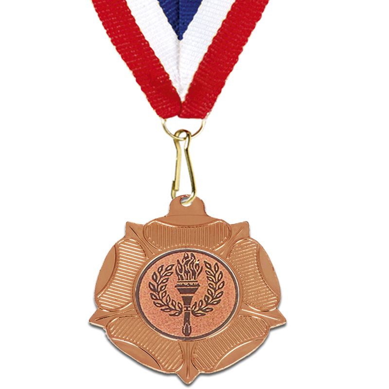 50mm Bronze Centre Holder Tudor Rose Medal