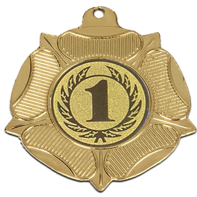 50mm Gold Centre Holder Tudor Rose Medal