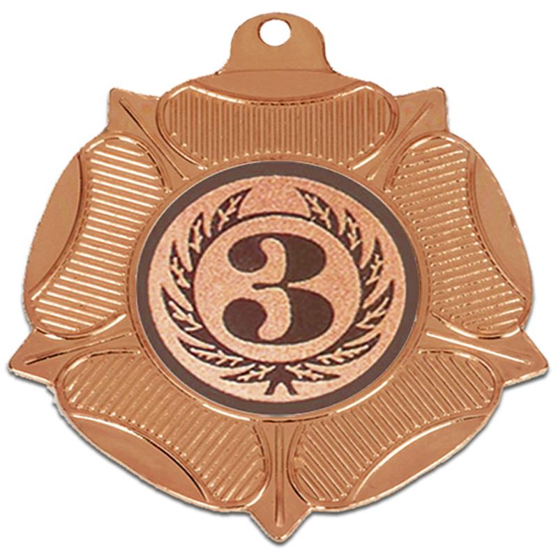 50mm Bronze Centre Holder Tudor Rose Medal