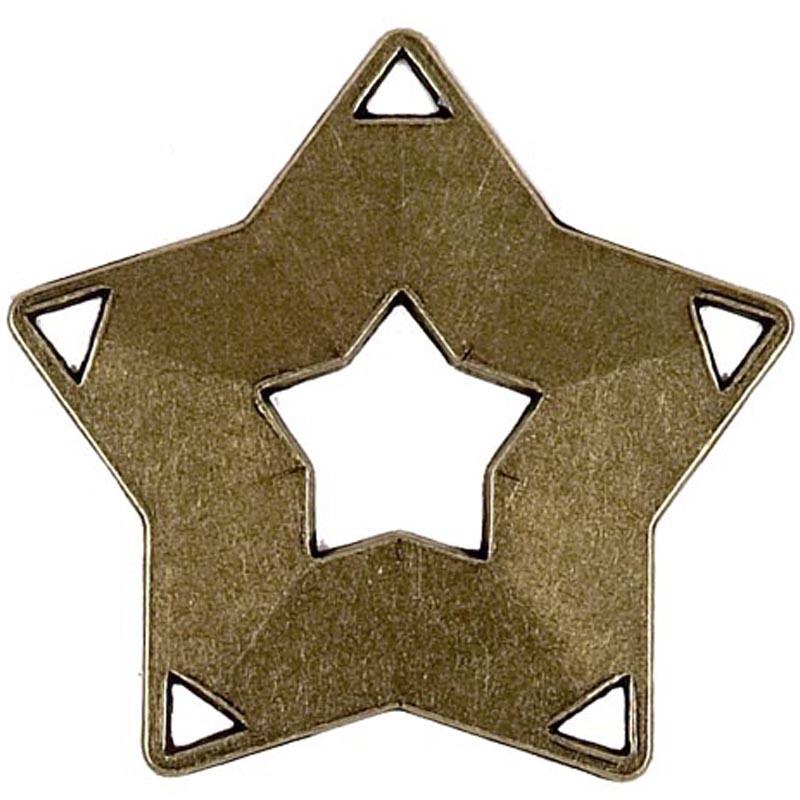 60mm Bronze Simple Mini Star Medal