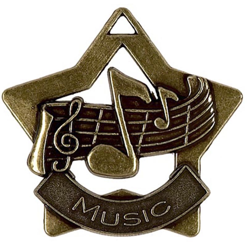 60mm Bronze Finish Mini Star Music Medal