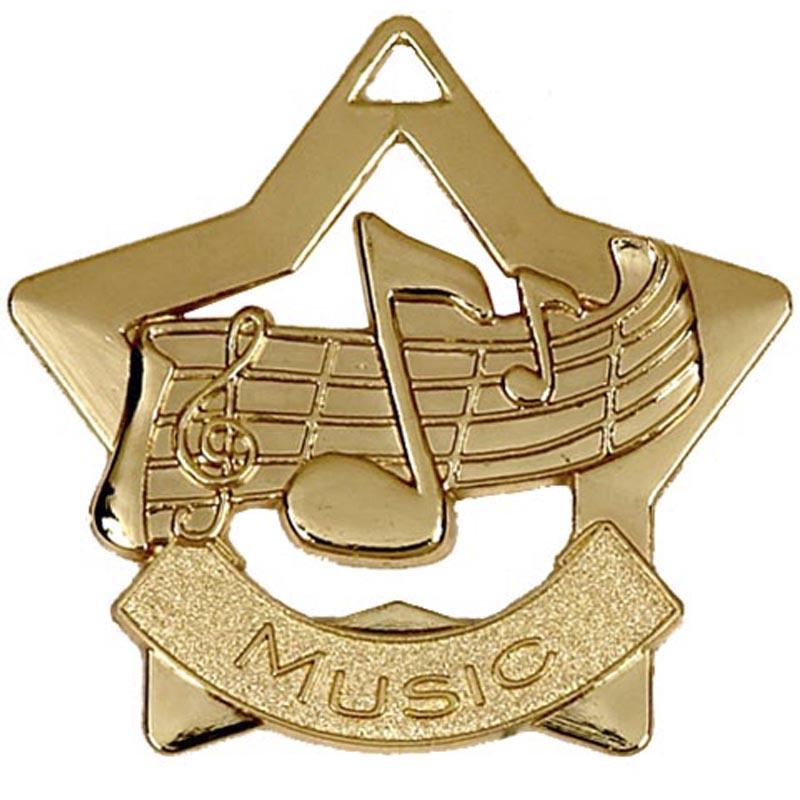 60mm Gold Finish Mini Star Music Medal