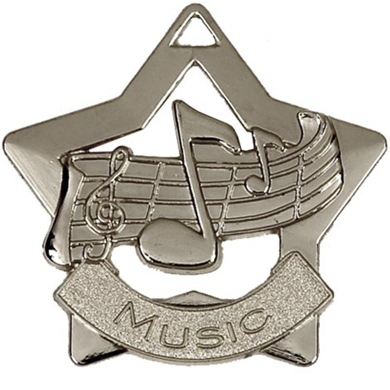 60mm Silver Finish Mini Star Music Medal