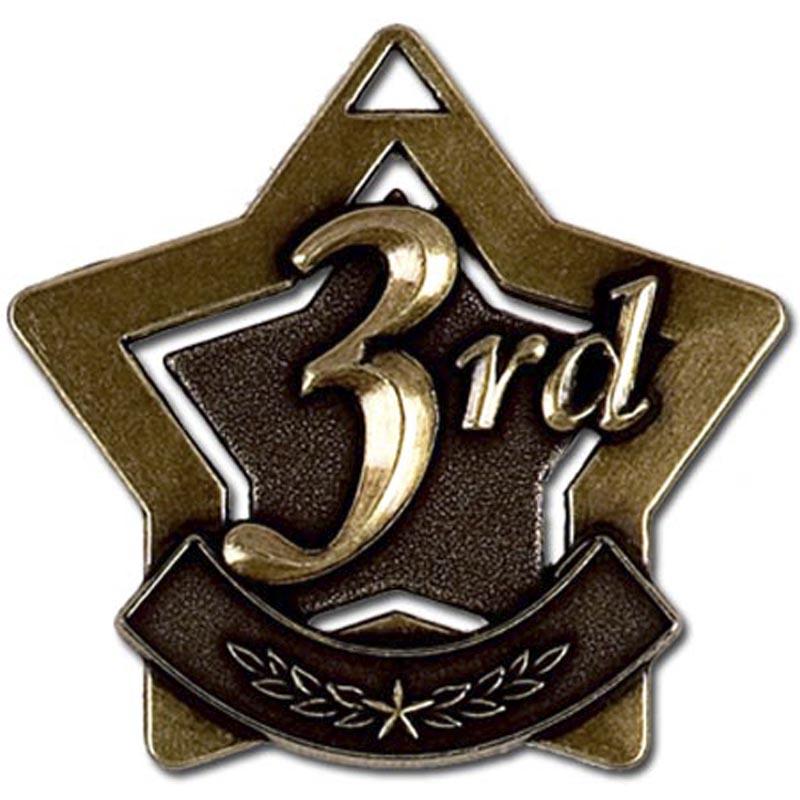 60mm Bronze Finish Mini Star 3Rd Place Medal