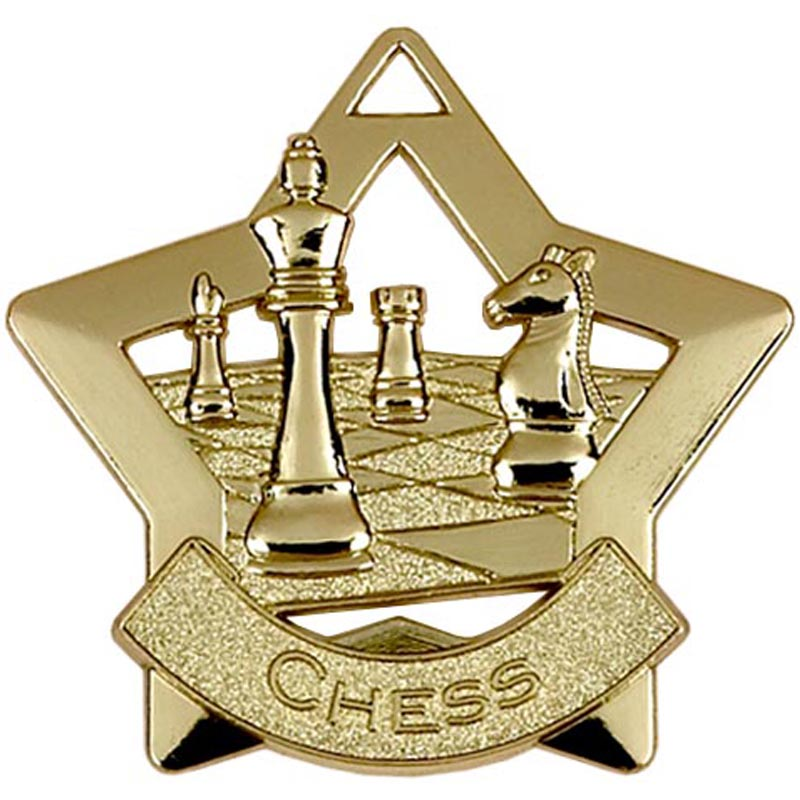 60mm Gold Mini Star Chess Medal