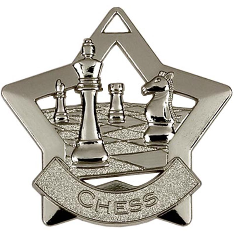 60mm Silver Mini Star Chess Medal