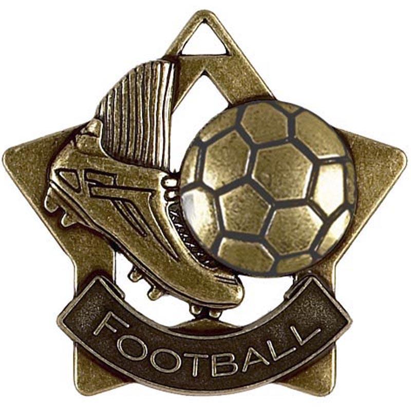 60mm Bronze Mini Star Football Boot Medal
