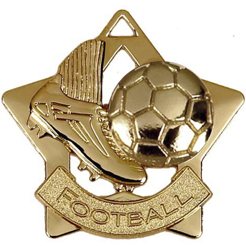 60mm Gold Mini Star Football Boot Medal