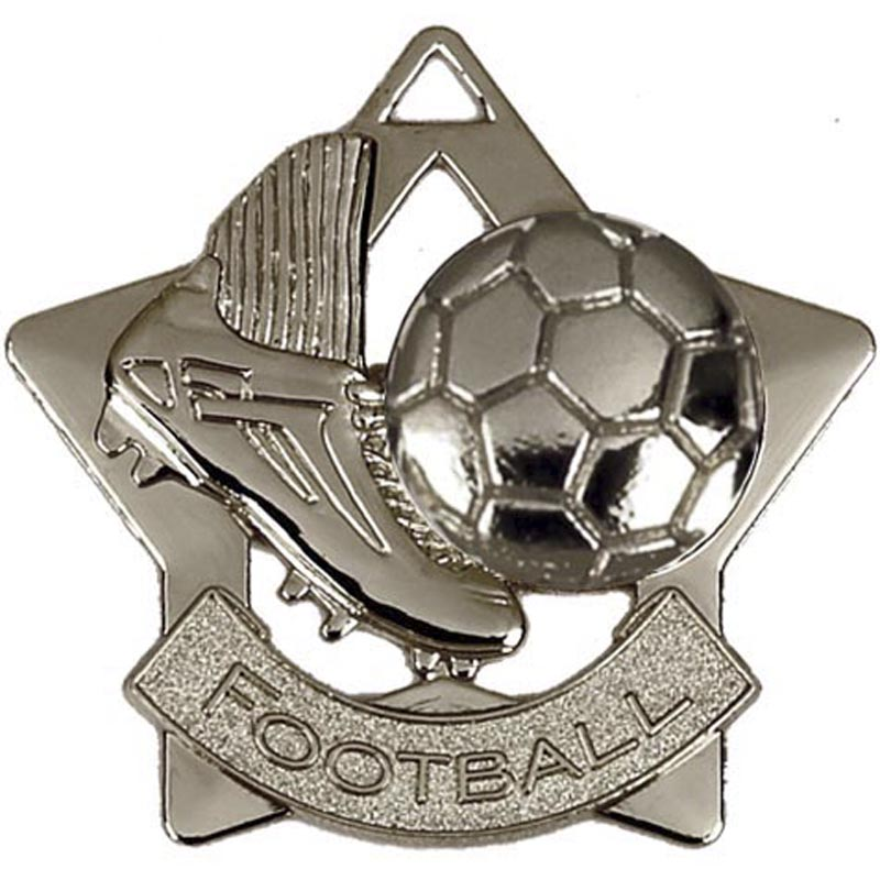 60mm Silver Mini Star Football Boot Medal