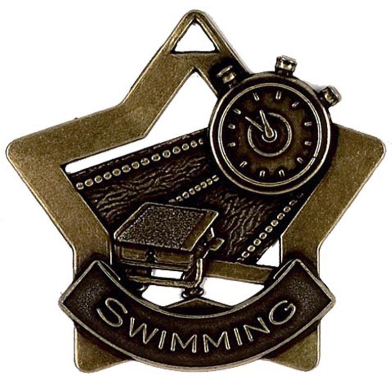 60mm Bronze Mini Star Swimming Medal