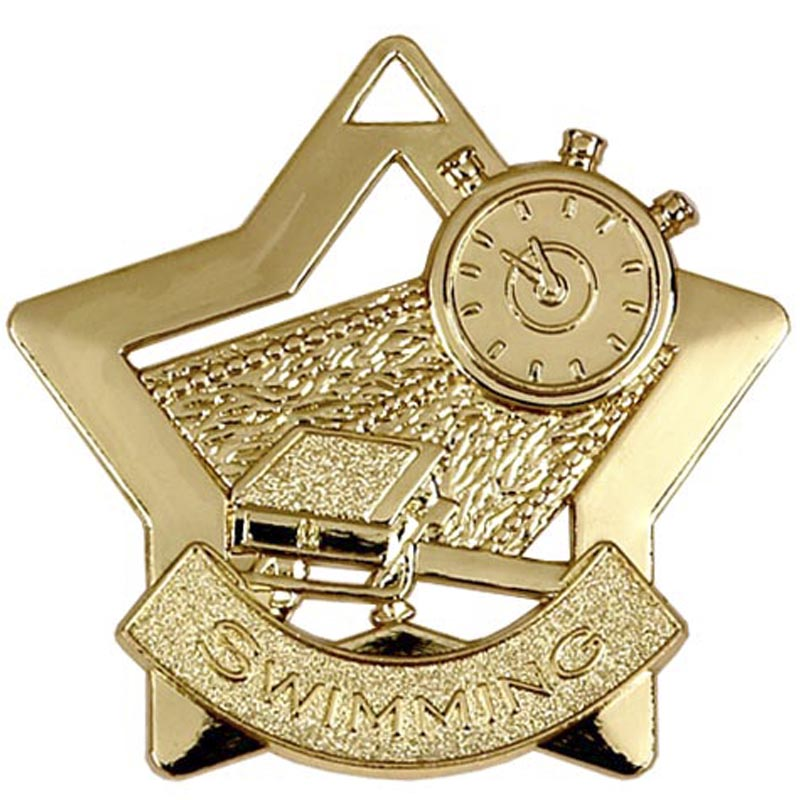 60mm Gold Mini Star Swimming Medal