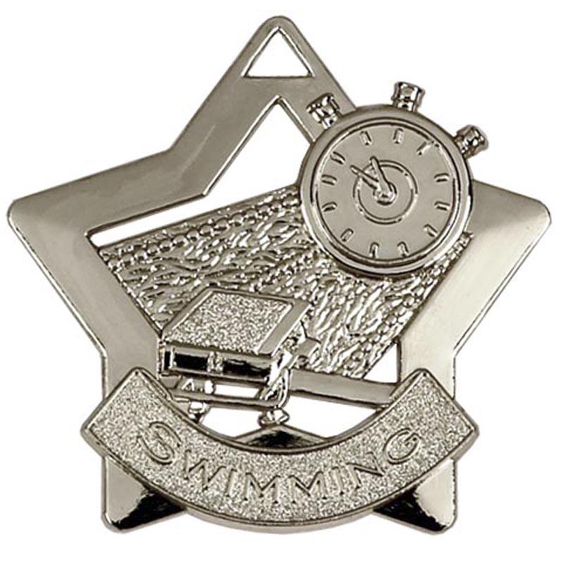 60mm Silver Mini Star Swimming Medal