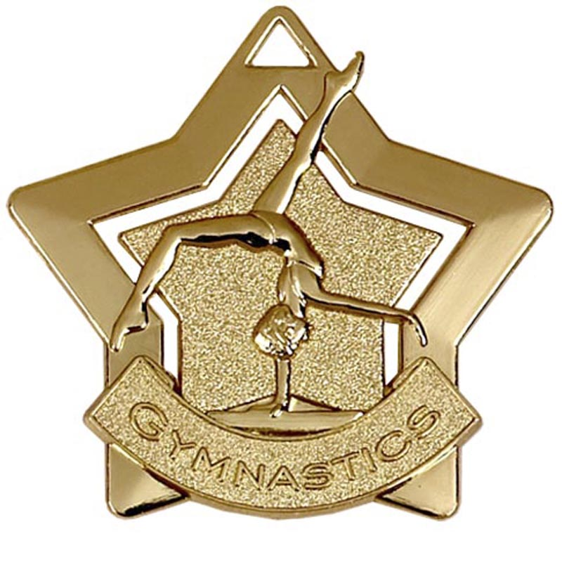 60mm Gold Mini Star Gymnastics Medal