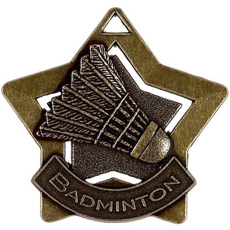 60mm Bronze Mini Star Badminton Medal