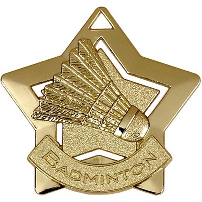 60mm Gold Mini Star Badminton Medal