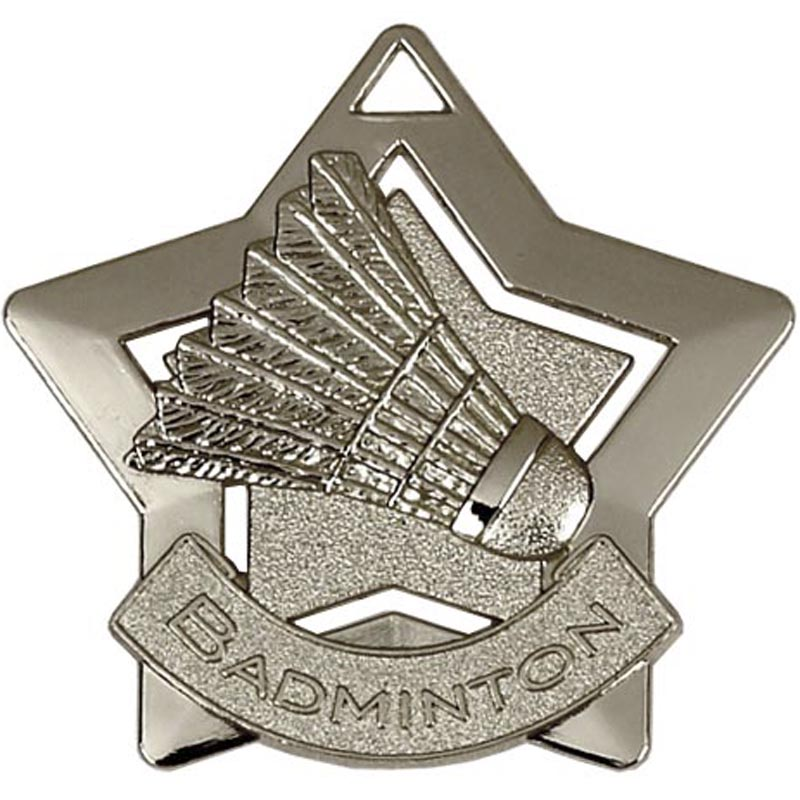 60mm Silver Mini Star Badminton Medal