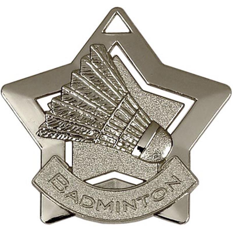 60mm Silver Mini Star Badminton Medal
