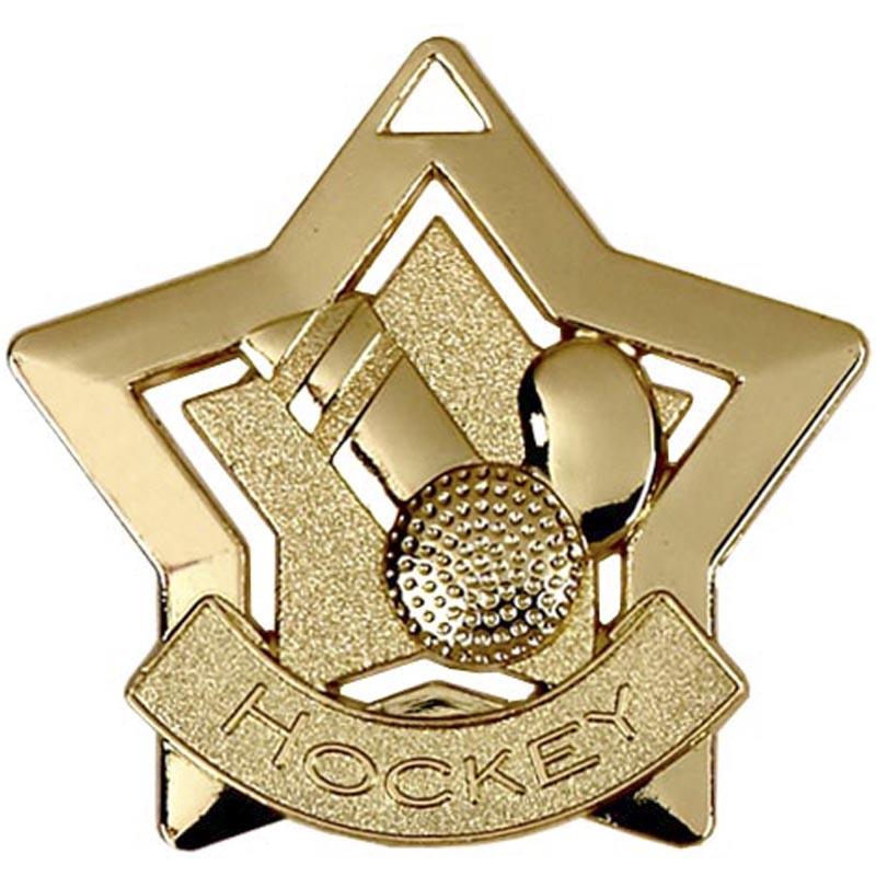 60mm Gold Mini Star Hockey Medal