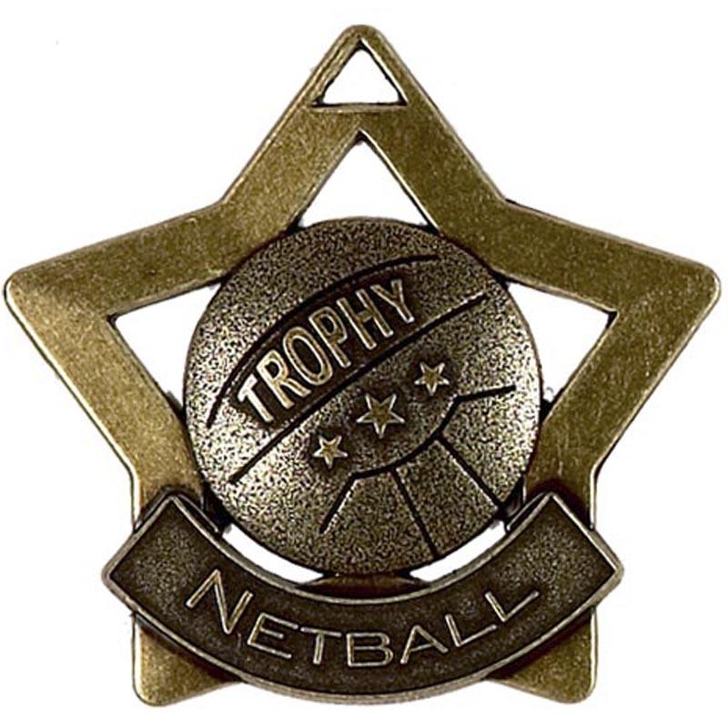 60mm Bronze Mini Star Netball Medal