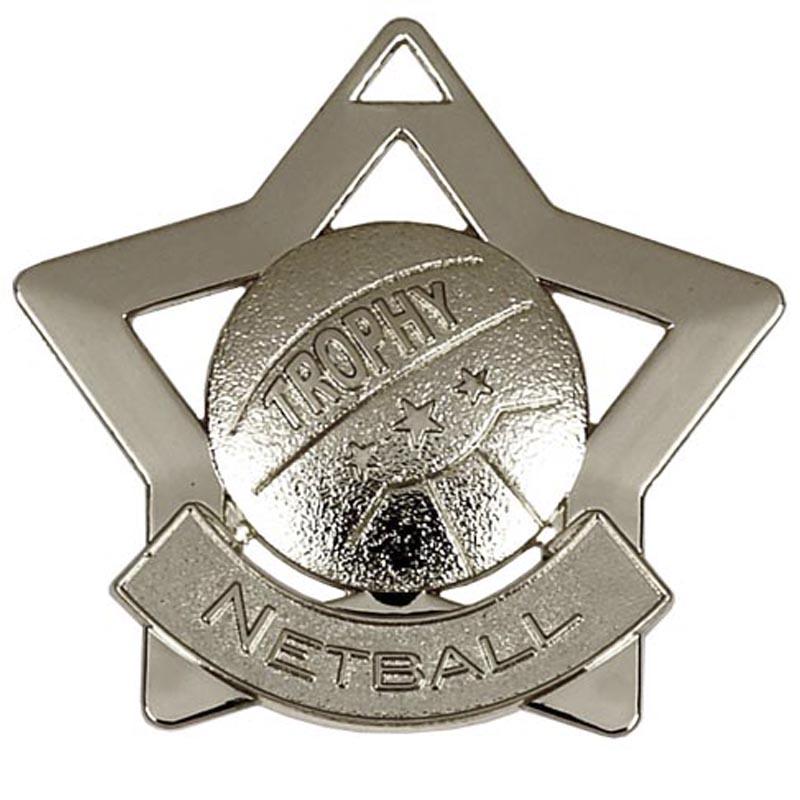 60mm Silver Mini Star Netball Medal