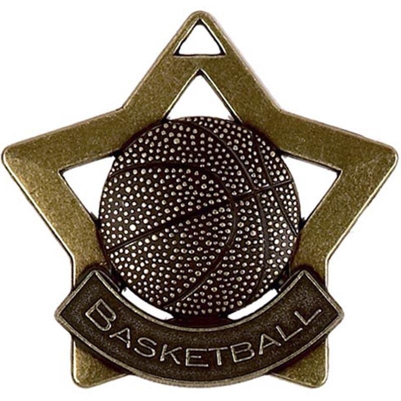 60mm Bronze Mini Star Basketball Medal