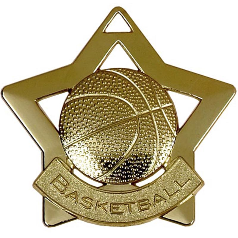 60mm Gold Mini Star Basketball Medal