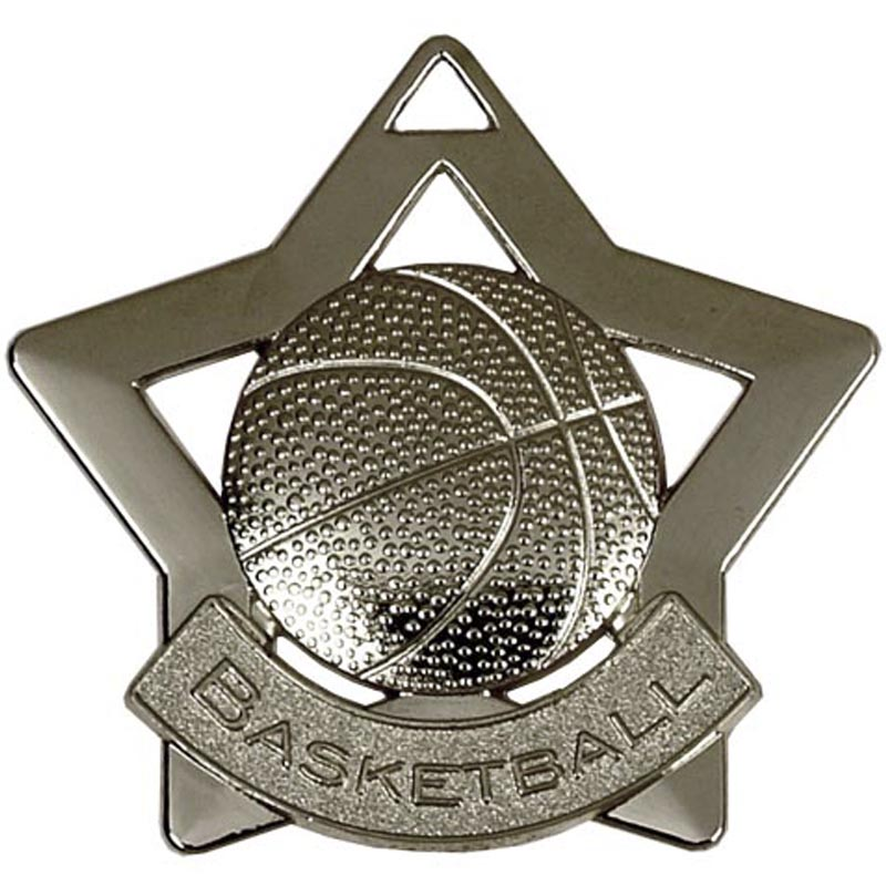 60mm Silver Mini Star Basketball Medal