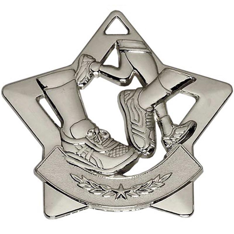 60mm Silver Mini Star Running Medal