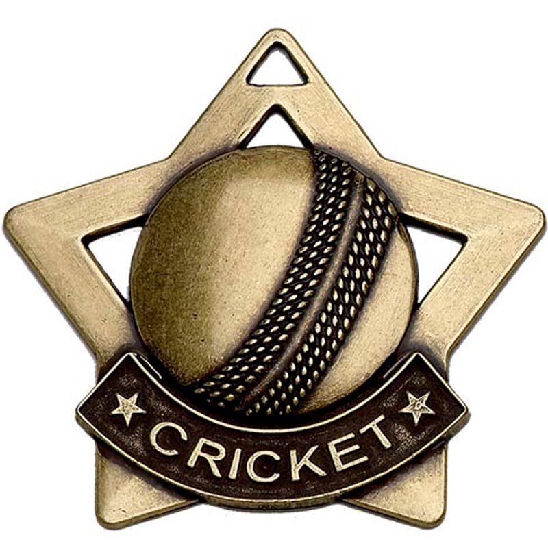 60mm Bronze Mini Star Cricket Medal