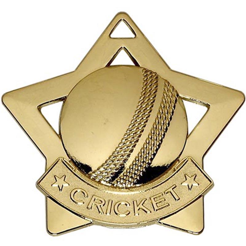 60mm Gold Mini Star Cricket Medal