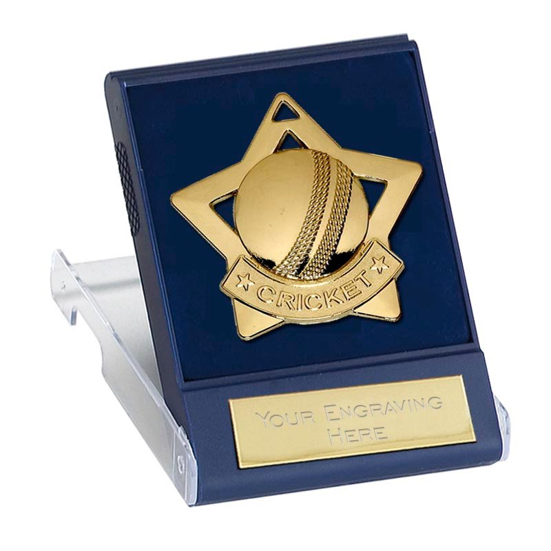 60mm Gold Ball Cricket Mini Cased Medal