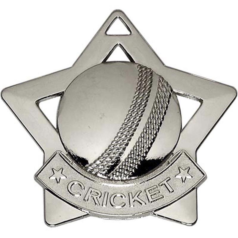60mm Silver Mini Star Cricket Medal