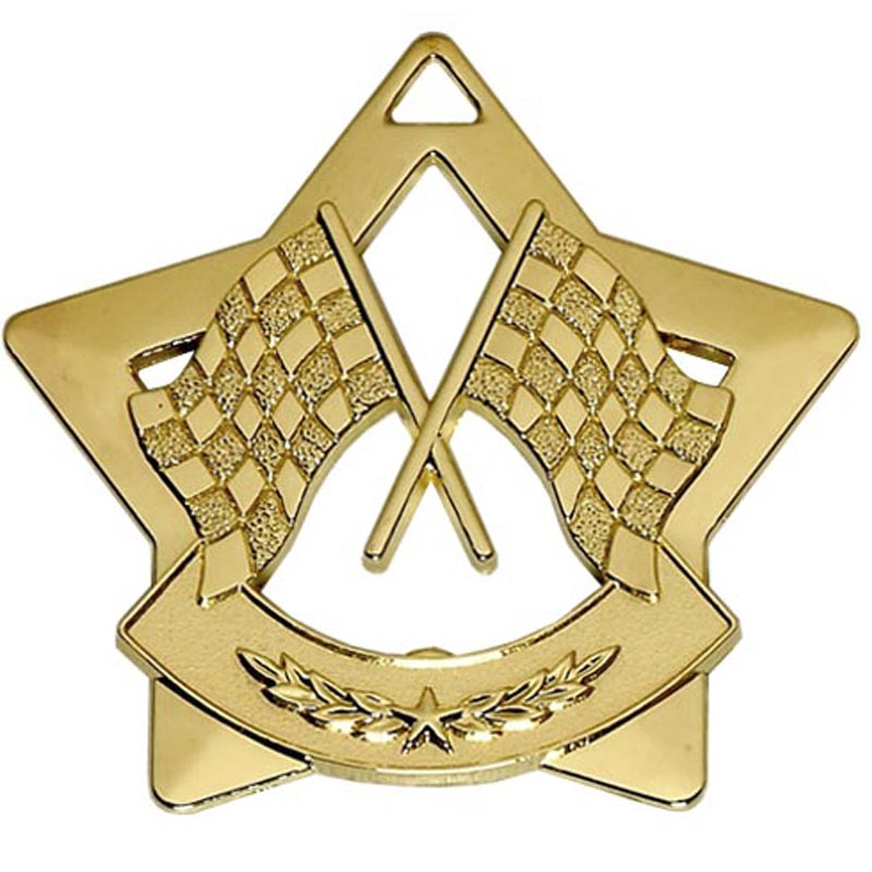 60mm Gold Mini Star Motorsport Medal