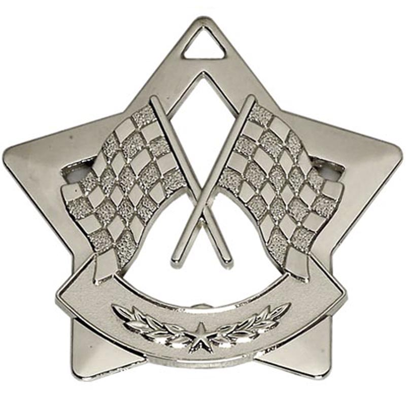 60mm Silver Mini Star Motorsport Medal
