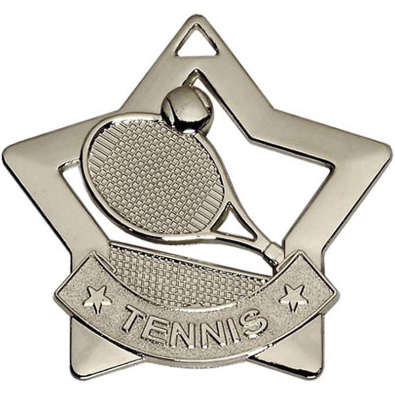 60mm Silver Mini Star Tennis Medal