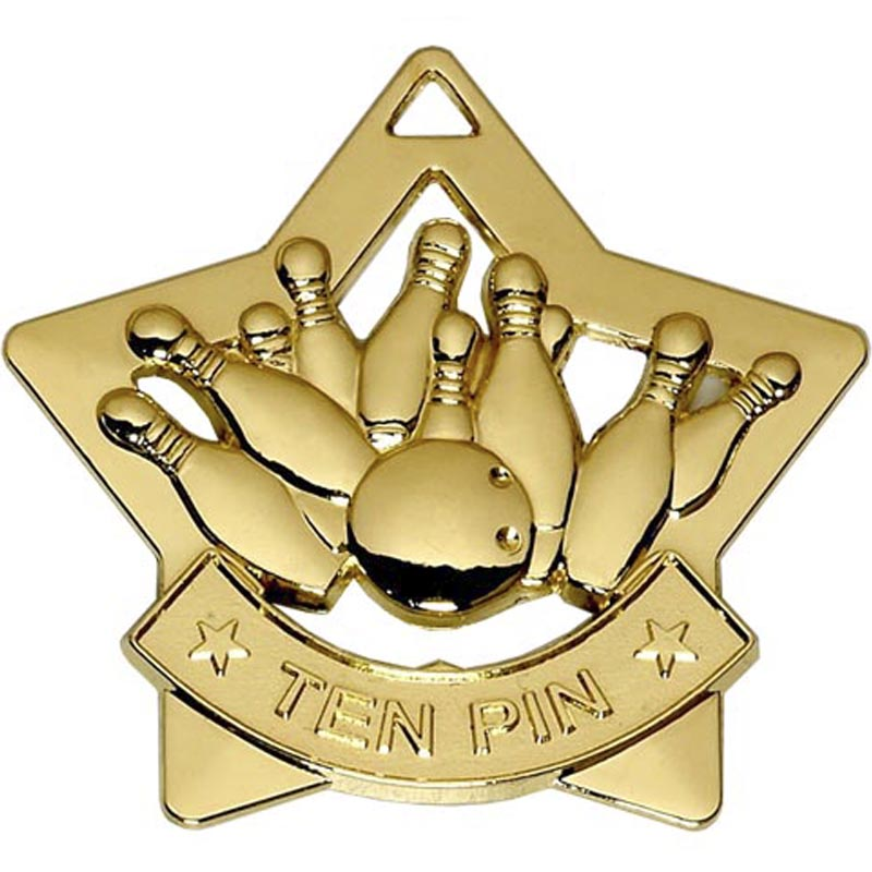 60mm Gold Mini Star Ten Pin Medal