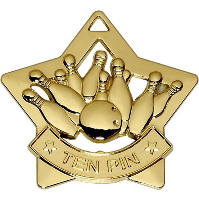 60mm Gold Mini Star Ten Pin Medal