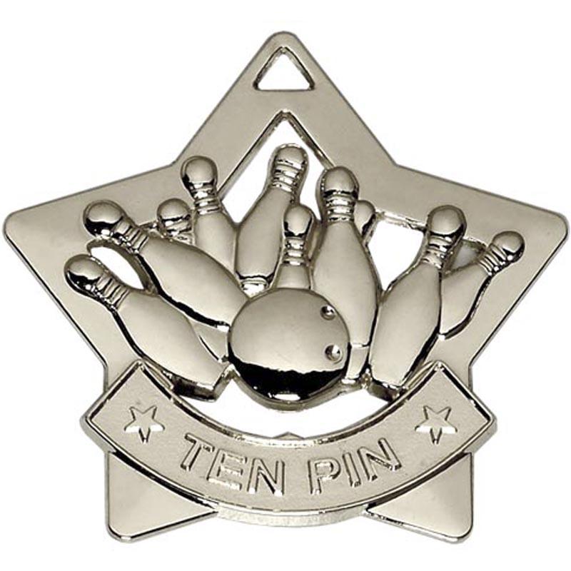 60mm Silver Mini Star Ten Pin Medal